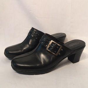 Clarks Black Leather Bendable Clogs Size 9.5